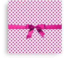 Pink Polkadot Ribbon Canvas Print