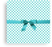 Blue Tiffany Polkadot Ribbon Canvas Print