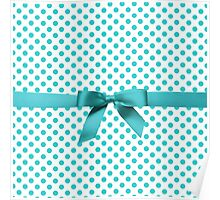 Blue Tiffany Polkadot Ribbon Poster