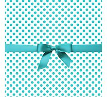 Blue Tiffany Polkadot Ribbon Photographic Print