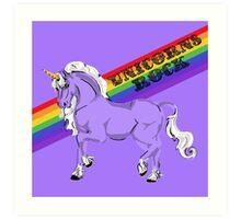 """Unicorns Rock"" Fabulous Rainbow Unicorn Art Print"