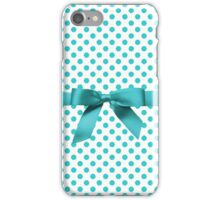 Blue Tiffany Polkadot Ribbon iPhone Case/Skin