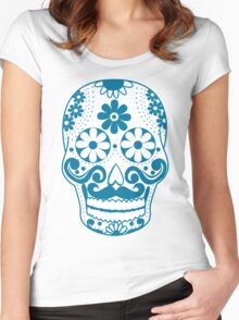 Blue Mustached Sugar Skull Women's Fitted Scoop T-Shirt