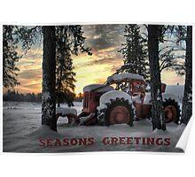 Christmas Card Skidder Sunrise Poster
