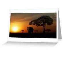 Sunset Elephant - Masai Mara Greeting Card