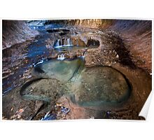Glowing Stone Pools, Zion Subway, Utah Poster