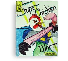 Super Chicken vs Worm Canvas Print