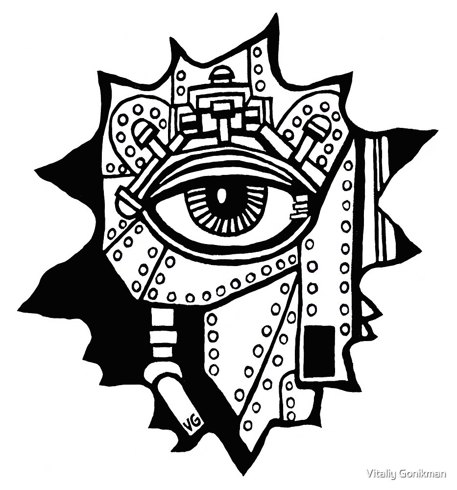 Surreal cyborg black and white pen ink drawing by Vitaliy Gonikman