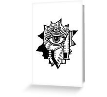 Surreal cyborg black and white pen ink drawing Greeting Card