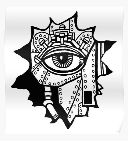 Surreal cyborg black and white pen ink drawing Poster