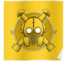 Art Deco Gasmask Yellow Poster