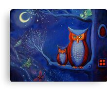 The Forest At Night - Owl Art  Canvas Print
