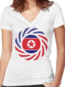 North Korean American Multinational Patriot Flag Series Women's Fitted V-Neck T-Shirt