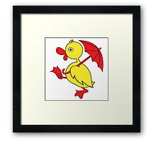 Duckling with umbrella Framed Print