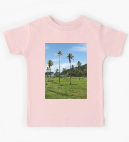 a colourful Dominica landscape Kids Tee