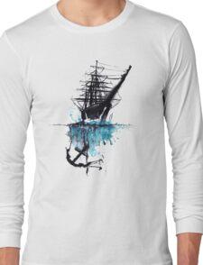 Rigged Sail Ship Watercolor Long Sleeve T-Shirt
