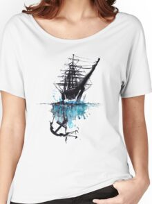 Rigged Sail Ship Watercolor Women's Relaxed Fit T-Shirt