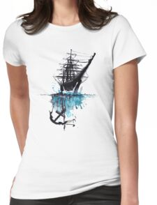 Rigged Sail Ship Watercolor Womens Fitted T-Shirt