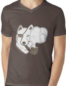 Smoking Wolf Mens V-Neck T-Shirt