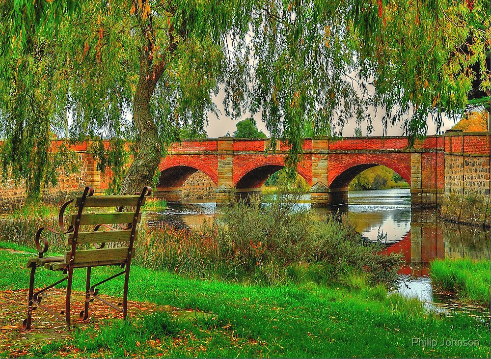 Seated In Time - The Red Bridge Campbelltown (C1838)Tasmania, Australia - The HDR Experience by Philip Johnson