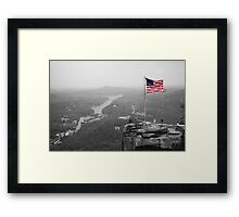 Chimney Rock Flag Framed Print