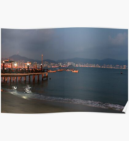 Acapulco Bay in the evening Poster