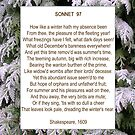 Shakespeare's Sonnet 97, especially good as a card. by Philip Mitchell