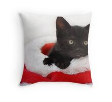 black kitten in a santa hat Throw Pillow