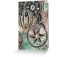 Xmas Baubles 12 -  Gelli Plate Print and Ink Greeting Card