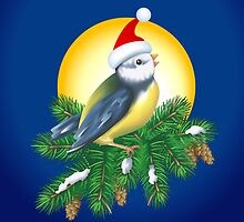 Christmas Bird in Santa Hat by lydiasart
