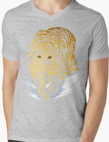 Golden Snow Tiger Mens V-Neck T-Shirt