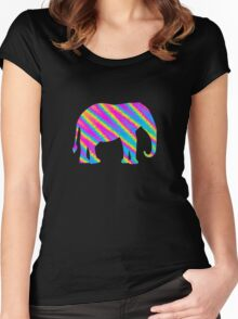 rainbow elephant Women's Fitted Scoop T-Shirt
