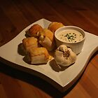 Pizza rolls and garlic dip by Dirk Pagel