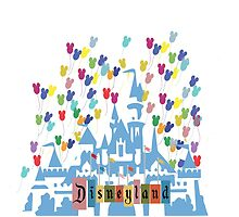 Vintage Disneyland Castle and Balloons by jaytasmic