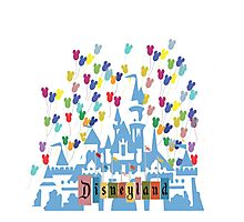 Vintage Disneyland Castle and Balloons Photographic Print