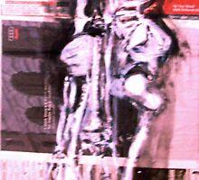 skeleton on newspaper - ink by Lorry666