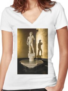 Michelangelo's David and his Shadow Women's Fitted V-Neck T-Shirt
