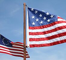 Two Replica US Flags by Karl R. Martin