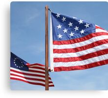 Two Replica US Flags Canvas Print