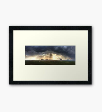 Glasshouse Mountains Panoramic Framed Print
