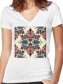 Bright Folk Art Pattern - hot pink, orange, blue & green Women's Fitted V-Neck T-Shirt
