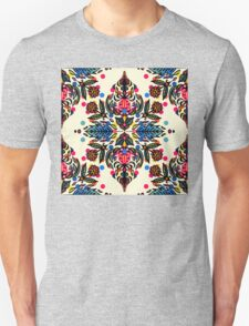 Bright Folk Art Pattern - hot pink, orange, blue & green T-Shirt