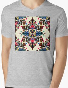 Bright Folk Art Pattern - hot pink, orange, blue & green Mens V-Neck T-Shirt