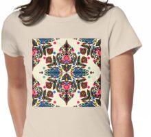Bright Folk Art Pattern - hot pink, orange, blue & green Womens Fitted T-Shirt