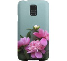 pink peony blooms on green background Samsung Galaxy Case/Skin