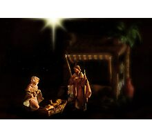 Wrapped in cloths and lying in a manger. Photographic Print