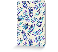 Hand Painted Purple & Aqua Leaf Pattern on Cream Greeting Card