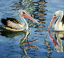 Two pelicans by Freda Surgenor