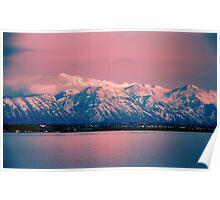 Pink Sunset Utah Lake Poster
