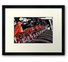 Mountain bikes in row Framed Print